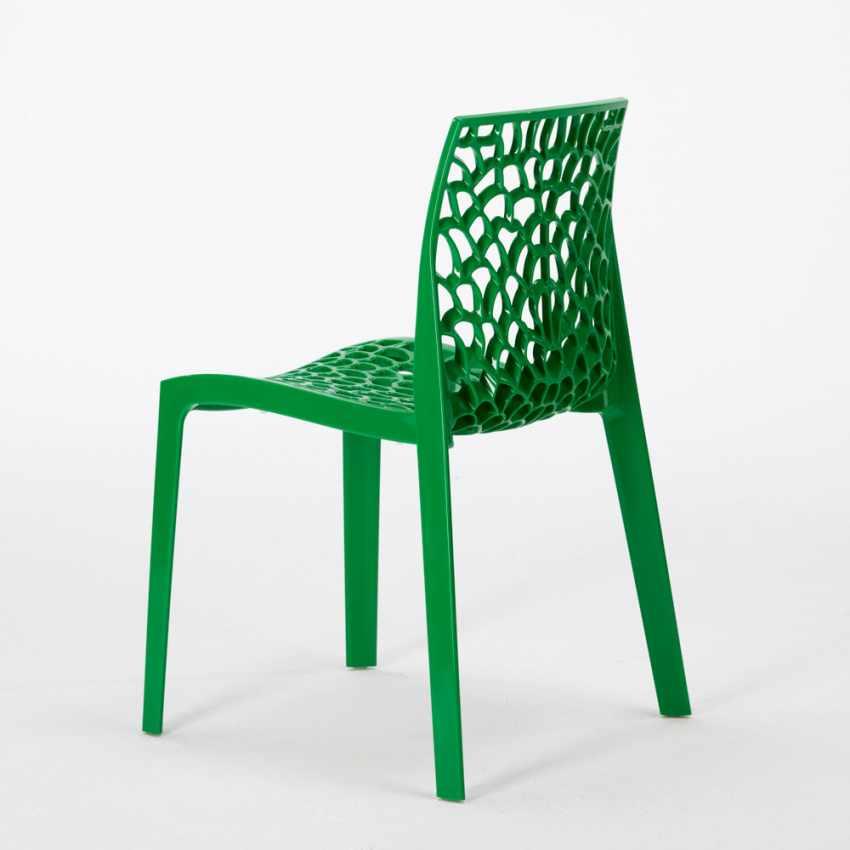 Tavolino Quadrato Bianco 70x70 cm con 2 Sedie Colorate GRUVYER PATIO - new