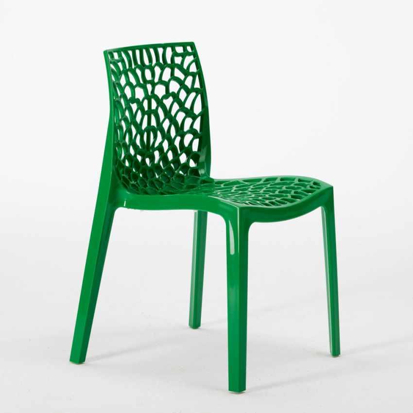 Tavolino Quadrato Bianco 70x70cm Con 2 Sedie Colorate Interno Bar GRUVYER PATIO - prezzo