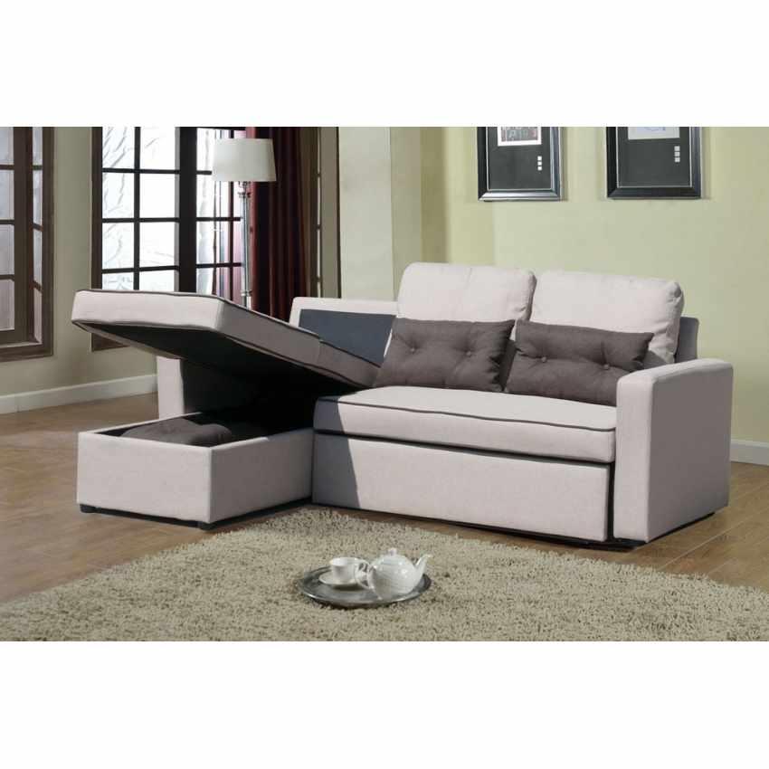 Divano letto con penisola ad angolo modulare 3 posti e cuscini SMERALDO per soggiorni e salotti pronto letto - new