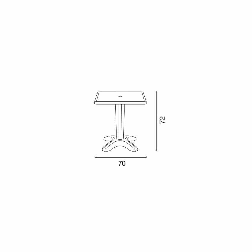 Tavolino Quadrato Bianco 70x70cm Con 2 Sedie Colorate Interno Bar GRUVYER PATIO - foto