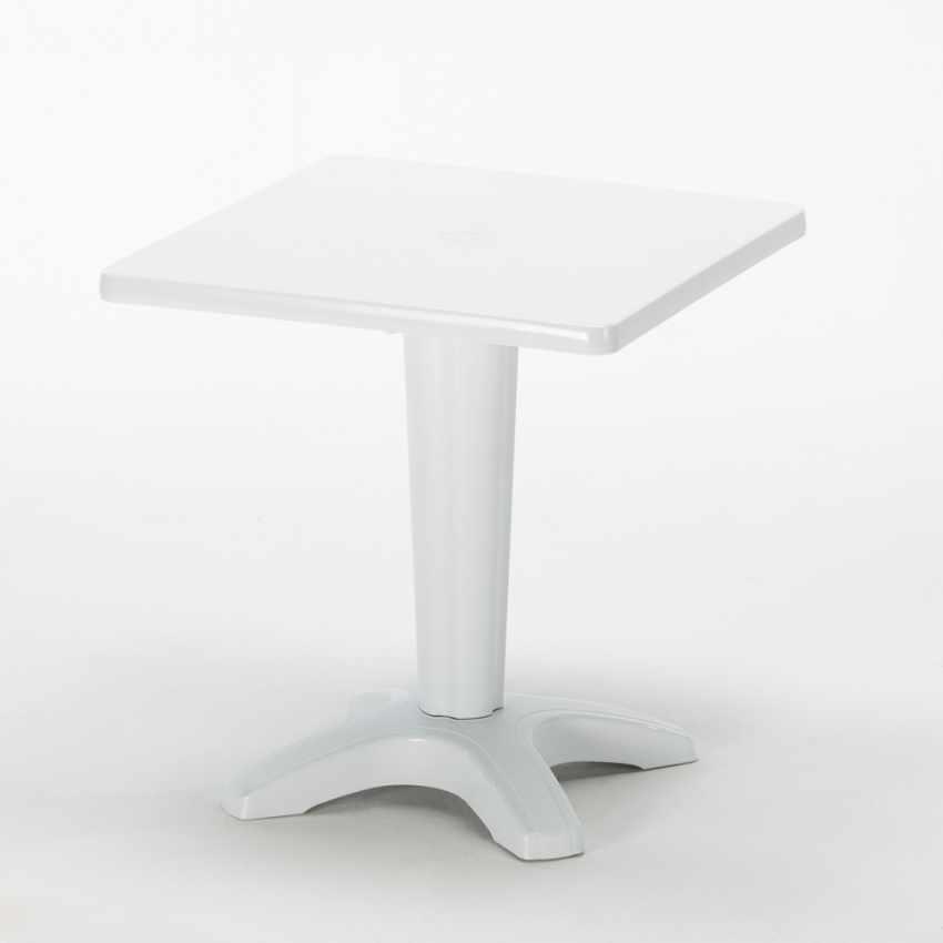 Tavolino Quadrato Bianco 70x70cm Con 2 Sedie Colorate Interno Bar GRUVYER PATIO - nuovo