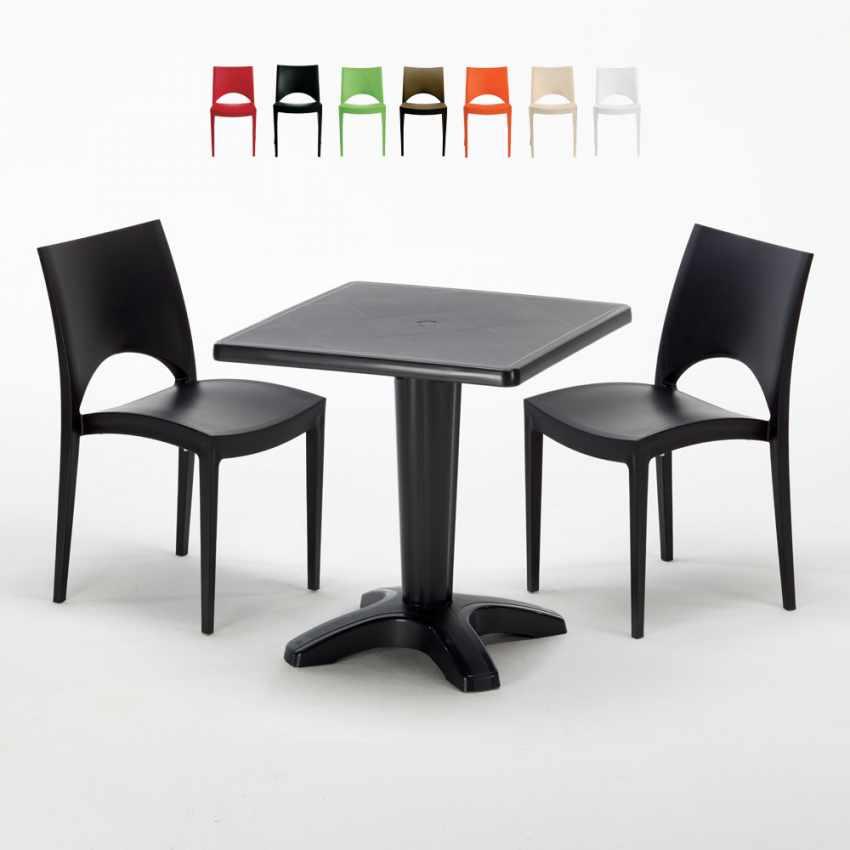 Tavolino Quadrato nero 70x70cm Con 2 Sedie Colorate Interno Bar PARIS AIA - vendita