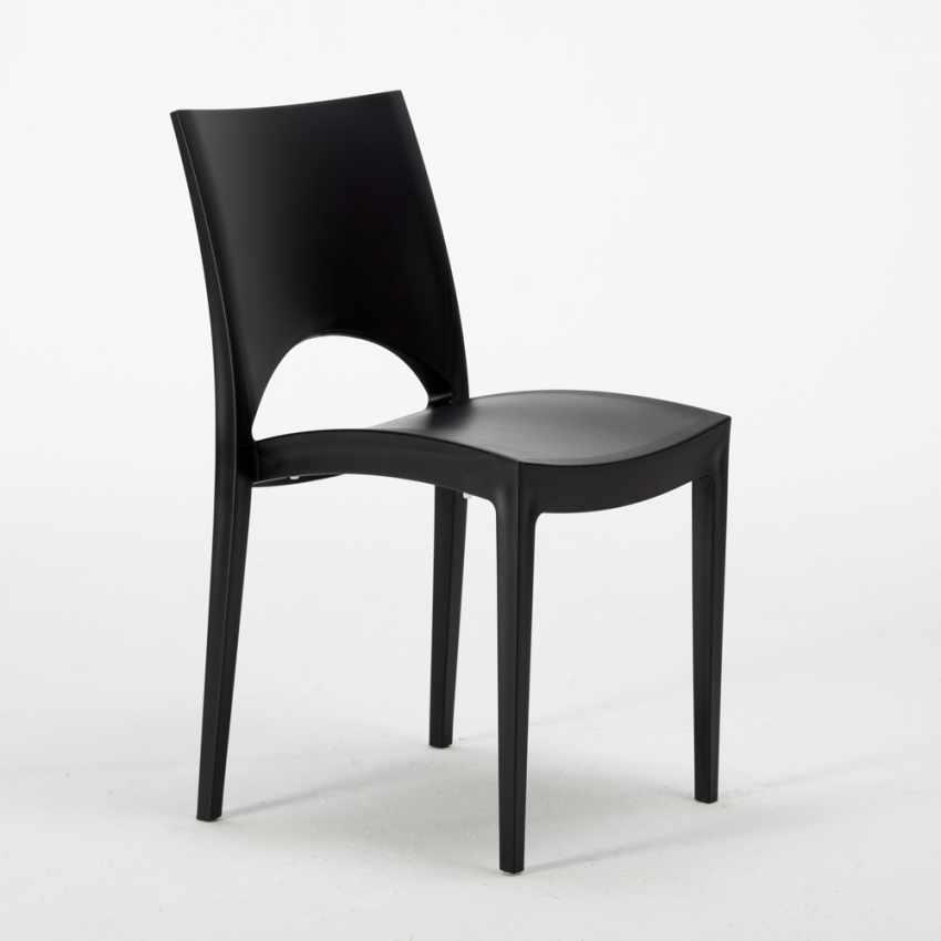 Tavolino Quadrato nero 70x70cm Con 2 Sedie Colorate Interno Bar PARIS AIA - nuovo
