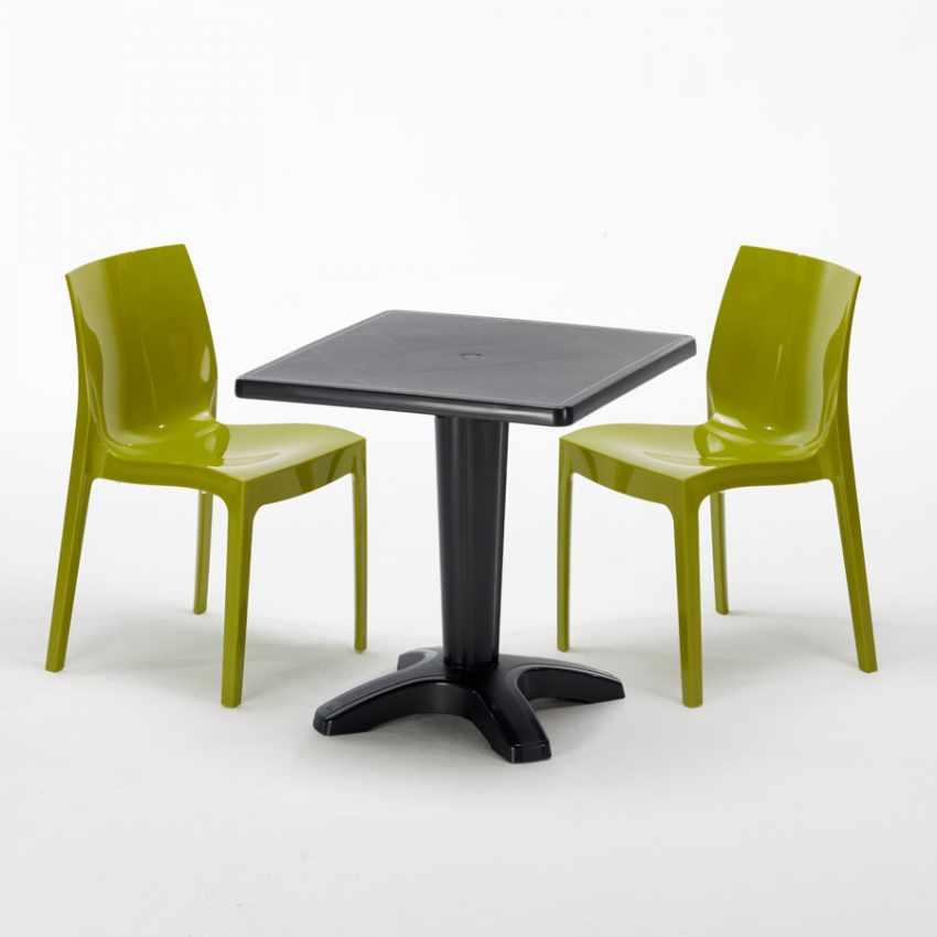 Tavolino Quadrato Nero 70x70cm Con 2 Sedie Colorate Interno Bar ICE AIA - foto