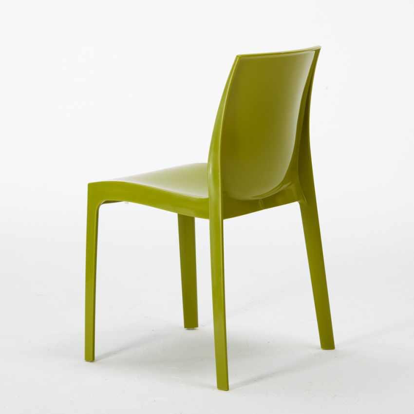 Tavolino Quadrato Nero 70x70cm Con 2 Sedie Colorate Interno Bar ICE AIA - vendita
