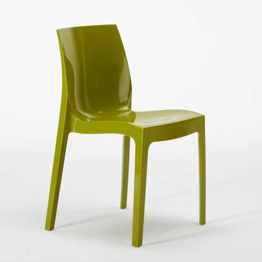 Tavolino Quadrato Nero 70x70 cm con 2 Sedie Colorate ICE AIA - outdoor