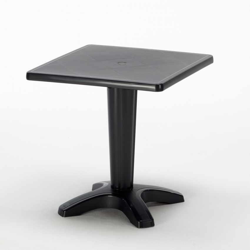 Tavolino Quadrato Nero 70x70 cm con 2 Sedie Colorate ICE AIA - promo