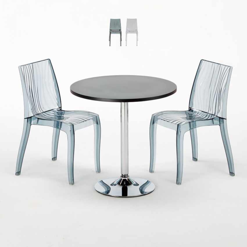 Tavolino Rotondo Nero 70x70cm Con 2 Sedie Colorate Interno Bar DUNE GOLD - offerta