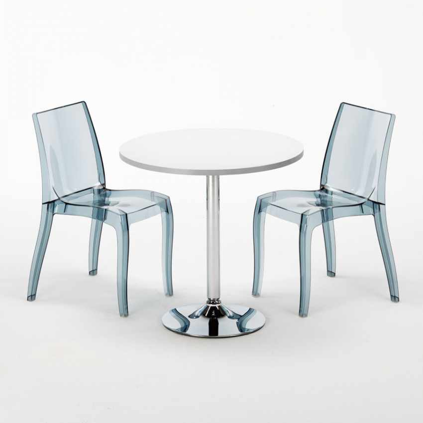 Tavolino Rotondo Bianco 70x70cm Con 2 Sedie Colorate Interno Bar CRISTAL LIGHT SILVER - esterno