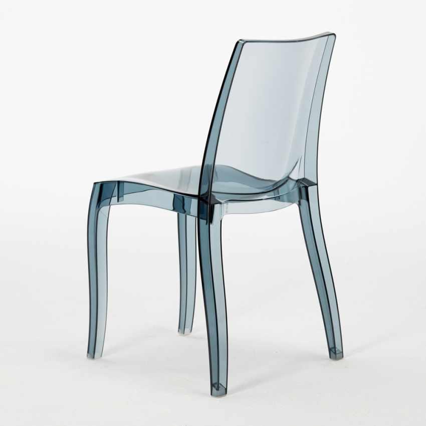 Tavolino Rotondo Bianco 70x70cm Con 2 Sedie Colorate Interno Bar CRISTAL LIGHT SILVER - vendita