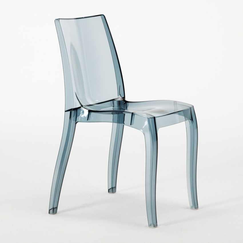 Tavolino Rotondo Bianco 70x70cm Con 2 Sedie Colorate Interno Bar CRISTAL LIGHT SILVER - immagine