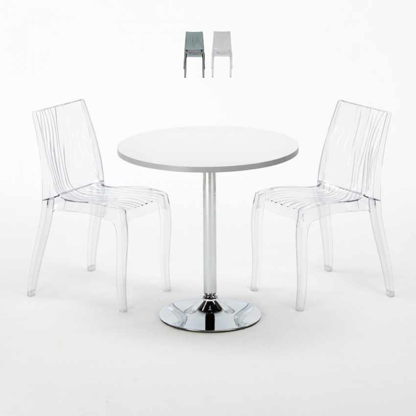 table ronde blanche 70x70cm avec 2 chaises color es et. Black Bedroom Furniture Sets. Home Design Ideas