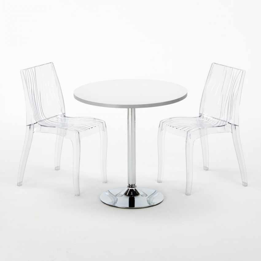 Tavolino Rotondo Bianco 70x70cm Con 2 Sedie Colorate Interno Bar DUNE SILVER - arredamento
