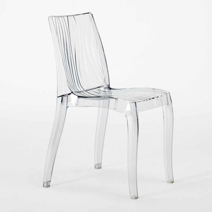 Tavolino Rotondo Bianco 70x70cm Con 2 Sedie Colorate Interno Bar DUNE SILVER - scontato