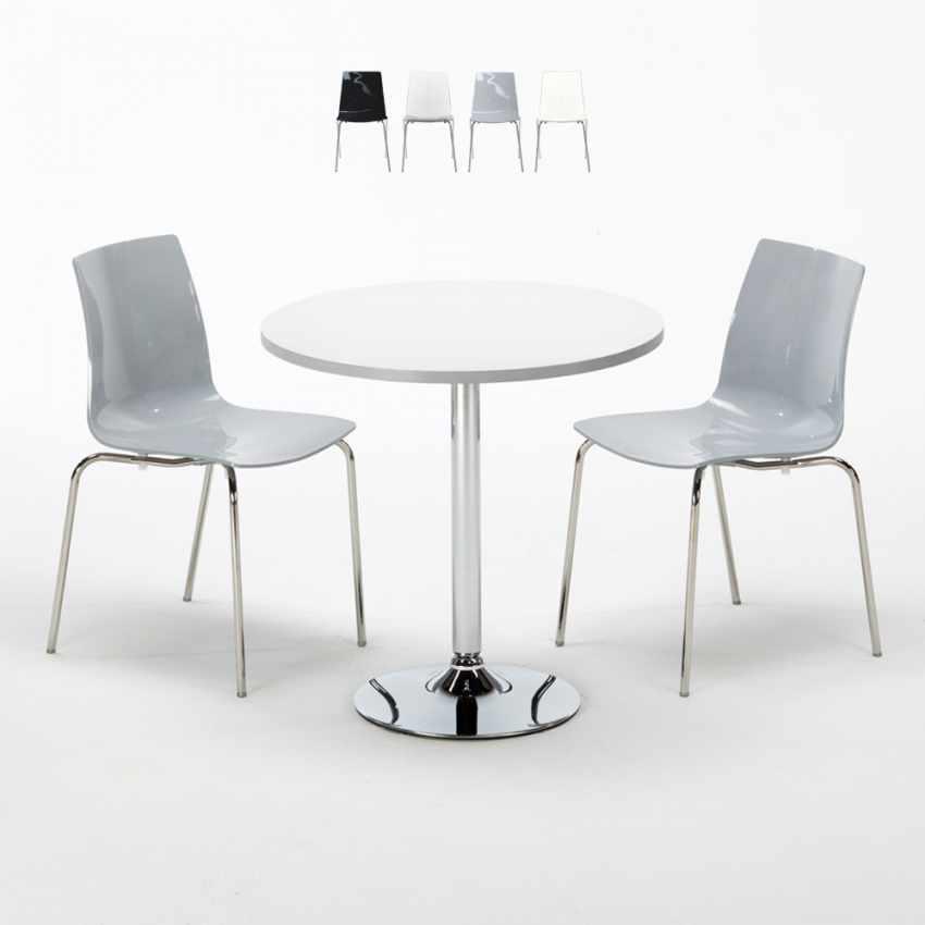 Tavolino Rotondo Bianco 70x70cm Con 2 Sedie Colorate Interno Bar LOLLIPOP SILVER - interno