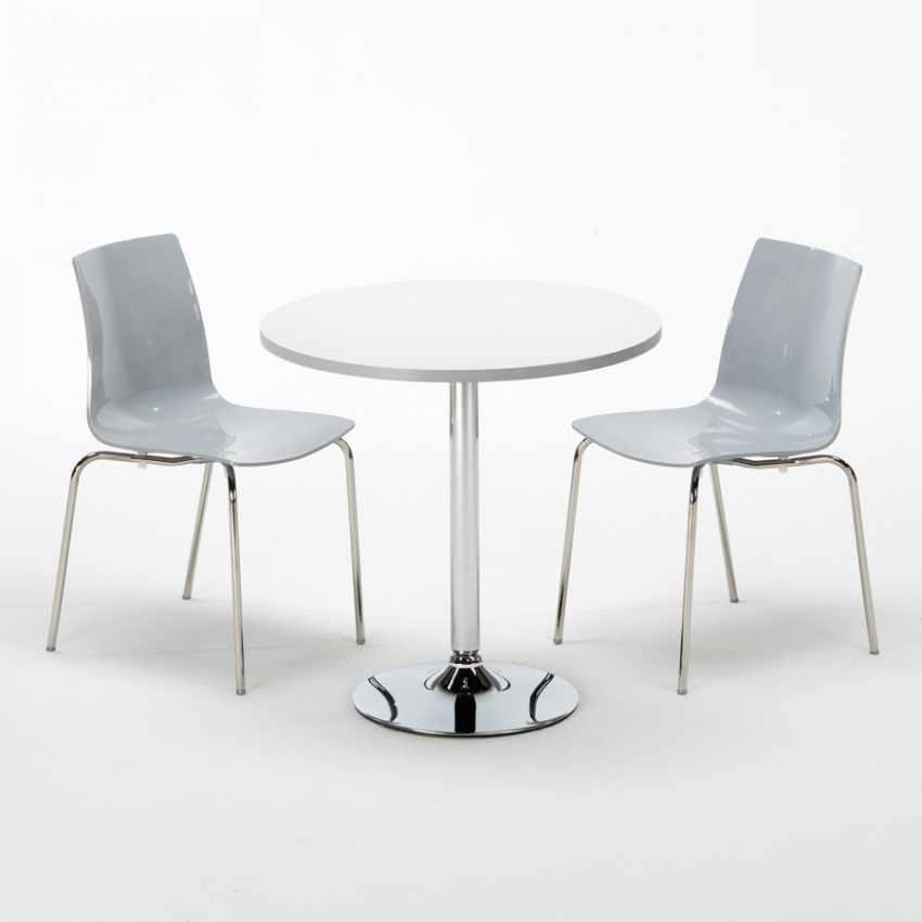 wei rund tisch und 2 st hle farbiges transparent grand. Black Bedroom Furniture Sets. Home Design Ideas