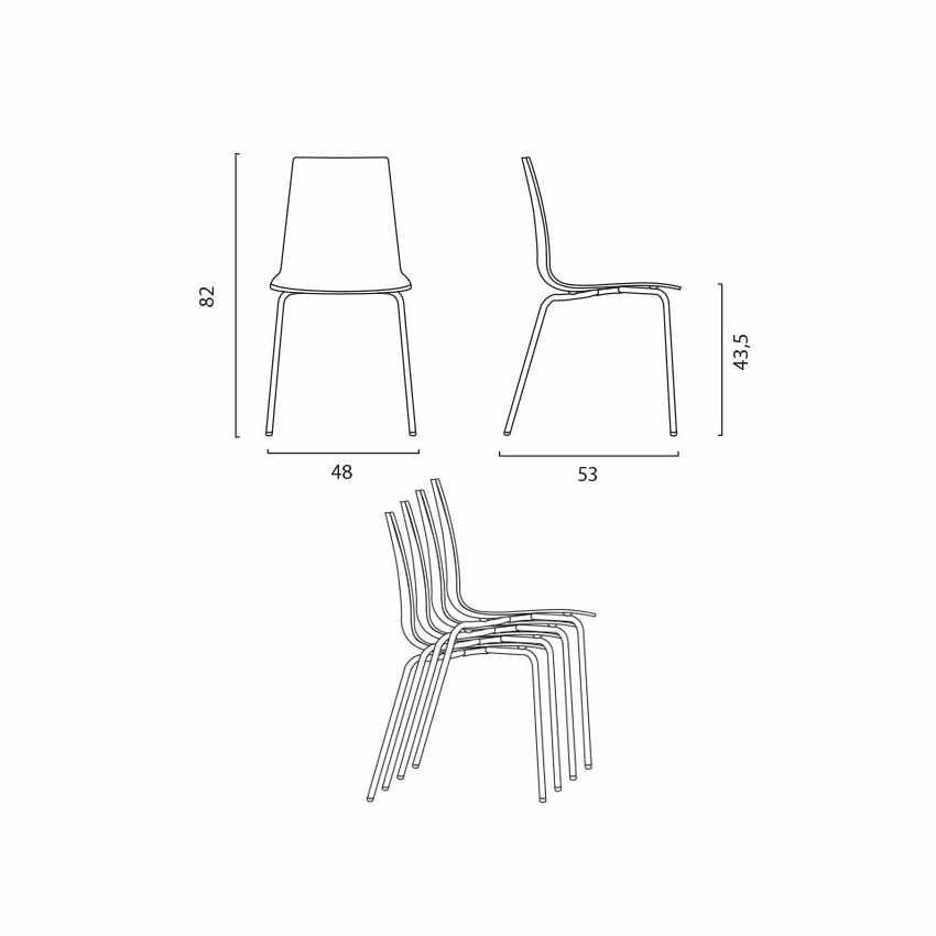 Tavolino Rotondo Bianco 70x70cm Con 2 Sedie Colorate Interno Bar LOLLIPOP SILVER - arredamento