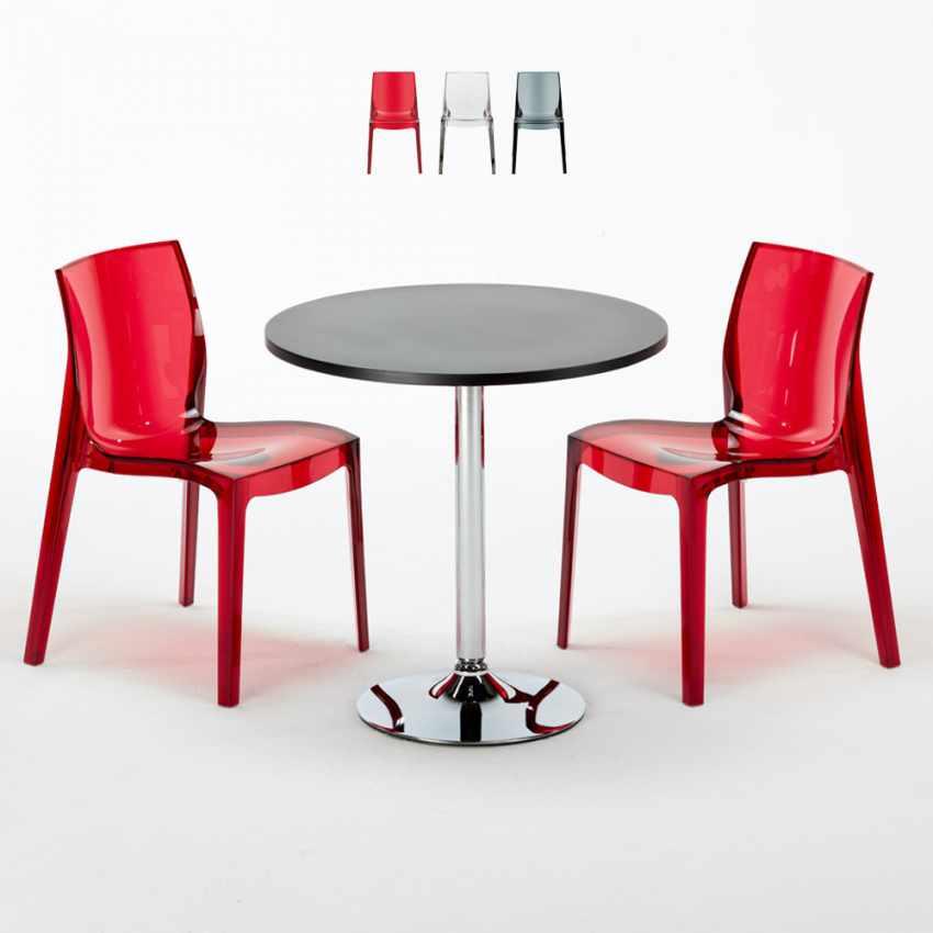 Tavolino Rotondo Nero 70x70cm Con 2 Sedie Colorate Interno Bar FEMME FATALE GHOST - esterno
