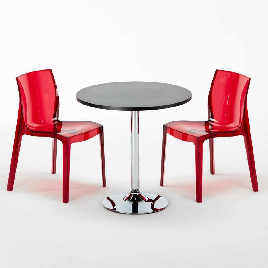 Sedie Trasparenti Colorate.Dettagli Su Tavolino Rotondo Nero 70 Cm 2 Sedie Trasparenti Colorate Interno Bar Ghost