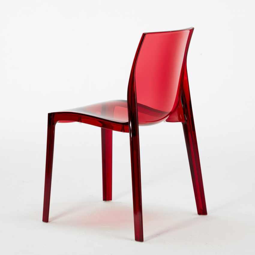 Tavolino Rotondo Nero 70x70cm Con 2 Sedie Colorate Interno Bar FEMME FATALE GHOST - interno