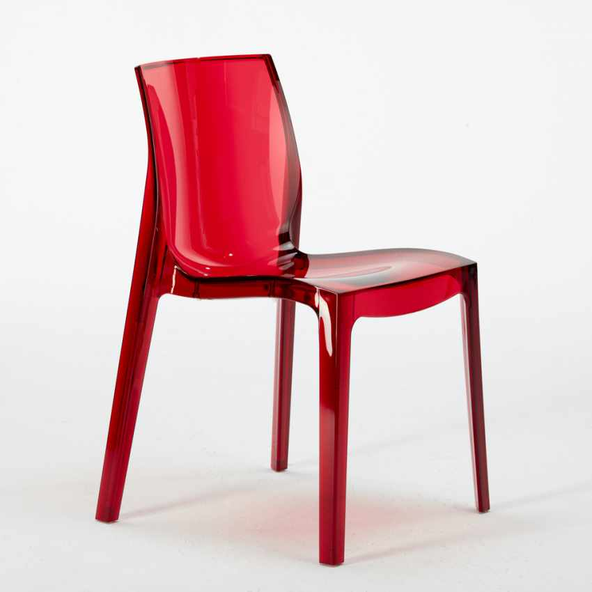 Tavolino Rotondo Nero 70x70cm Con 2 Sedie Colorate Interno Bar FEMME FATALE GHOST - vendita