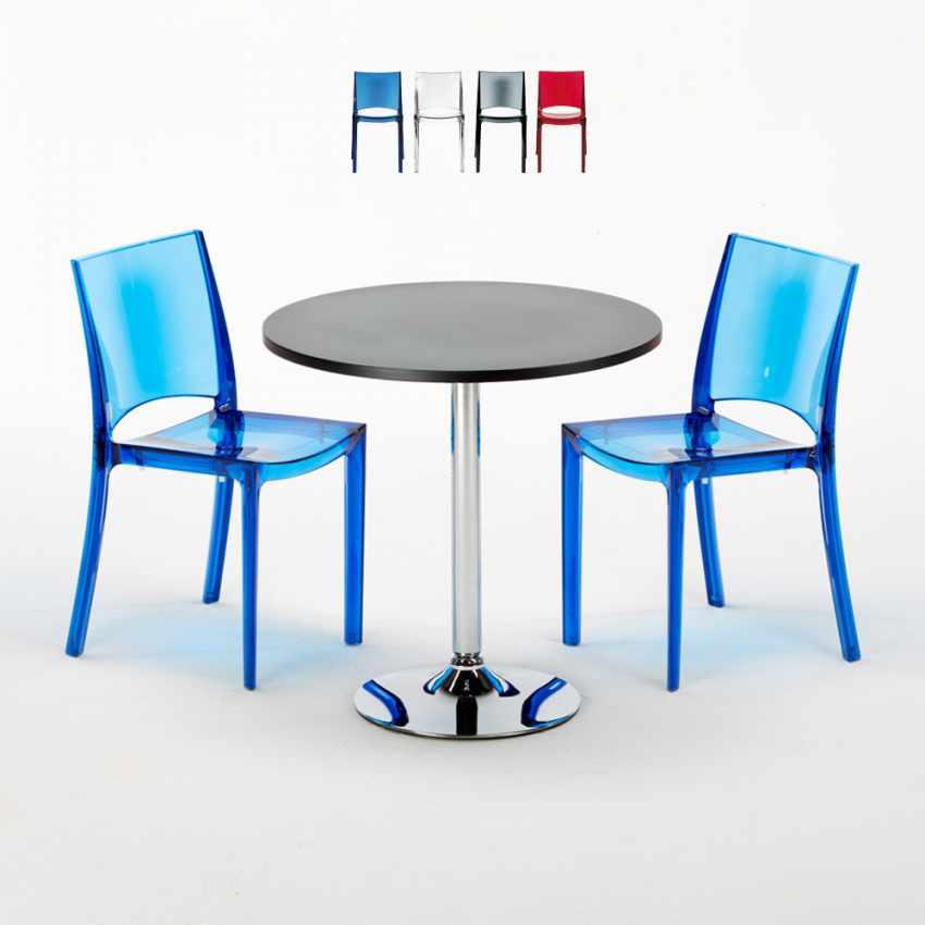 Tavolino Rotondo Nero 70x70cm Con 2 Sedie Colorate Interno Bar B-SIDE GHOST - offerta