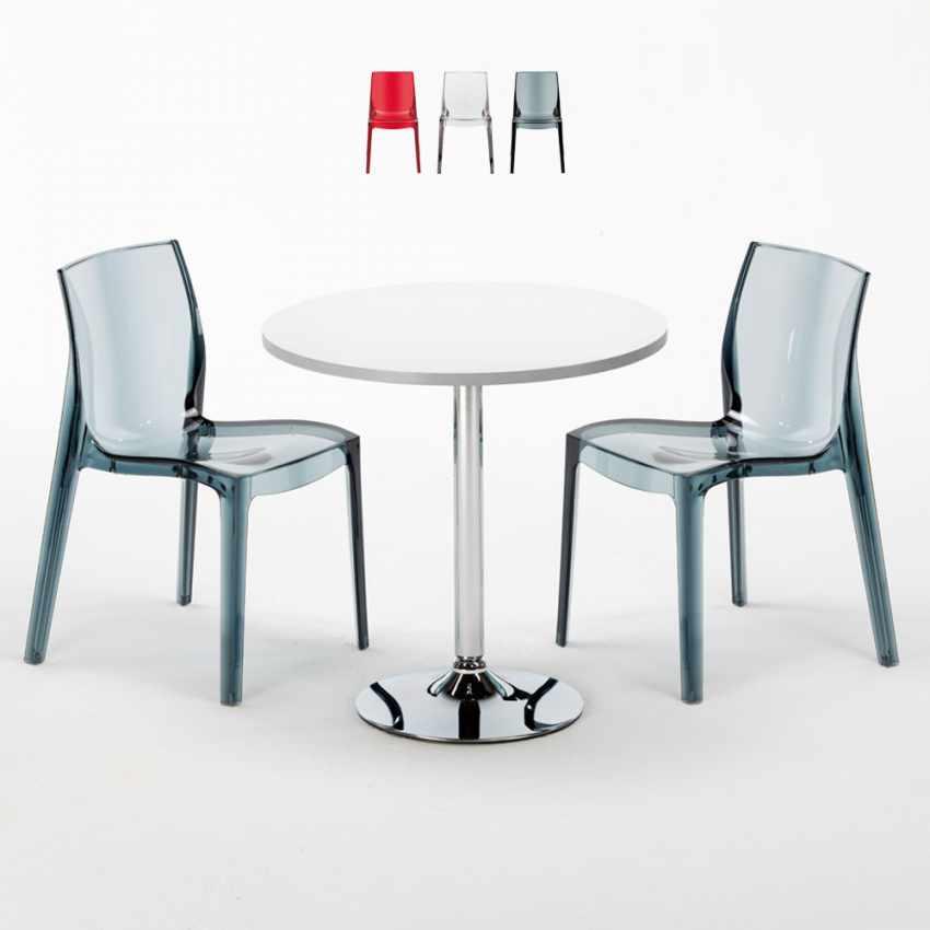 Tavolino Rotondo bianco 70x70cm Con 2 Sedie Colorate Interno Bar FEMME FATALE SPECTRE - scontato
