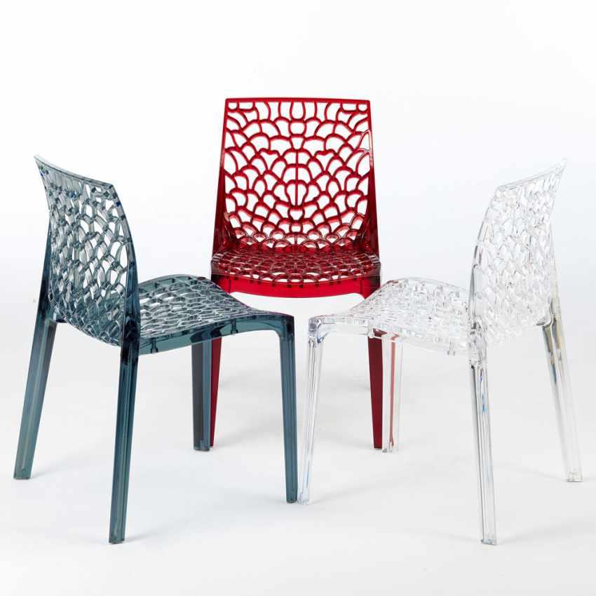 chaise nid d 39 abeille cuisine caf transparente empilable. Black Bedroom Furniture Sets. Home Design Ideas
