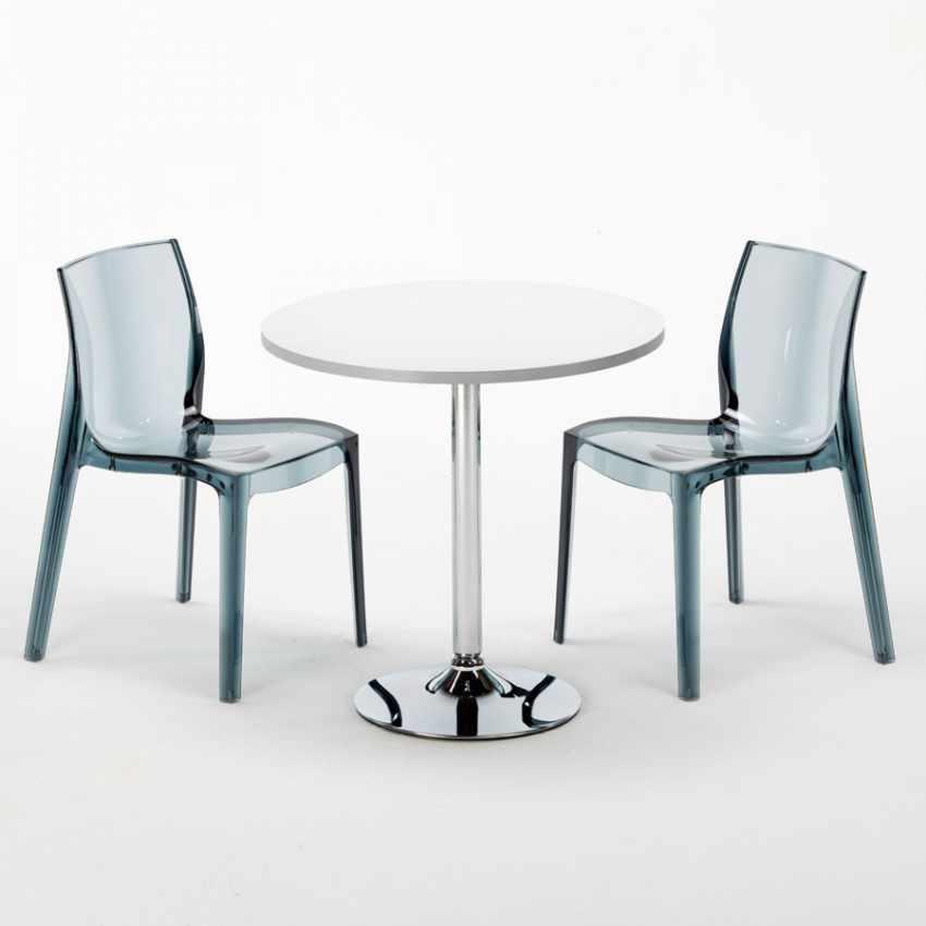 Tavolino Rotondo bianco 70x70cm Con 2 Sedie Colorate Interno Bar FEMME FATALE SPECTRE - immagine