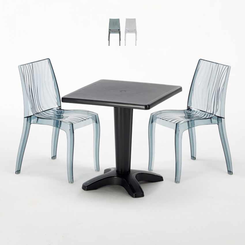 Tavolino Quadrato Nero 70x70 cm con 2 Sedie Colorate Trasparenti DUNE BALCONY - details