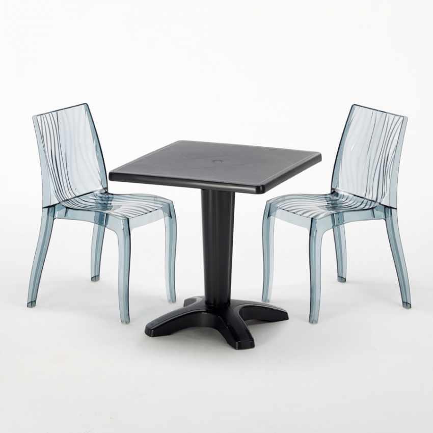 Tavolino Quadrato Nero 70x70 cm con 2 Sedie Colorate Trasparenti DUNE BALCONY - forniture
