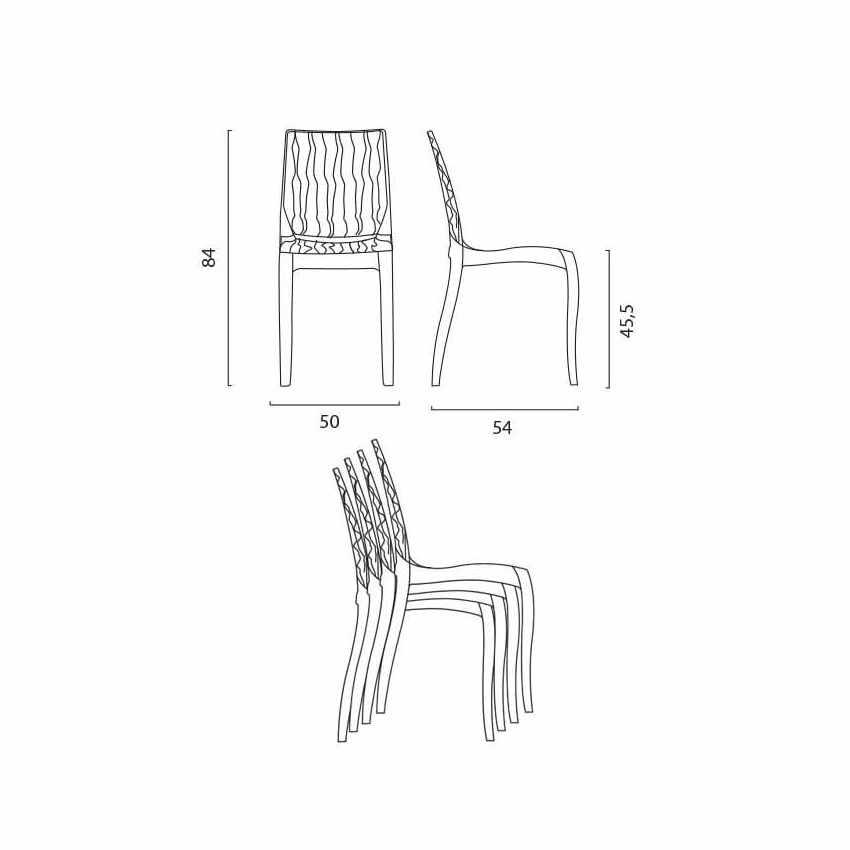 Tavolino Quadrato Nero 70x70 cm con 2 Sedie Colorate Trasparenti DUNE BALCONY - price