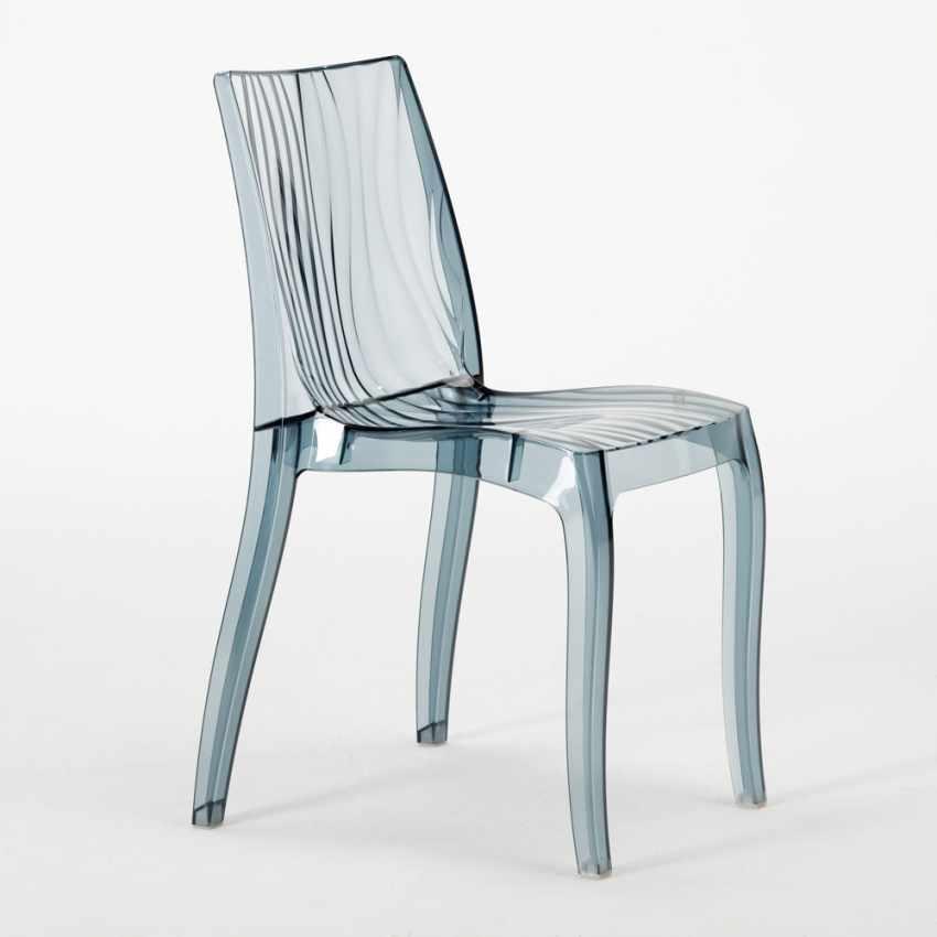 Tavolino Quadrato Nero 70x70 cm con 2 Sedie Colorate Trasparenti DUNE BALCONY - discount