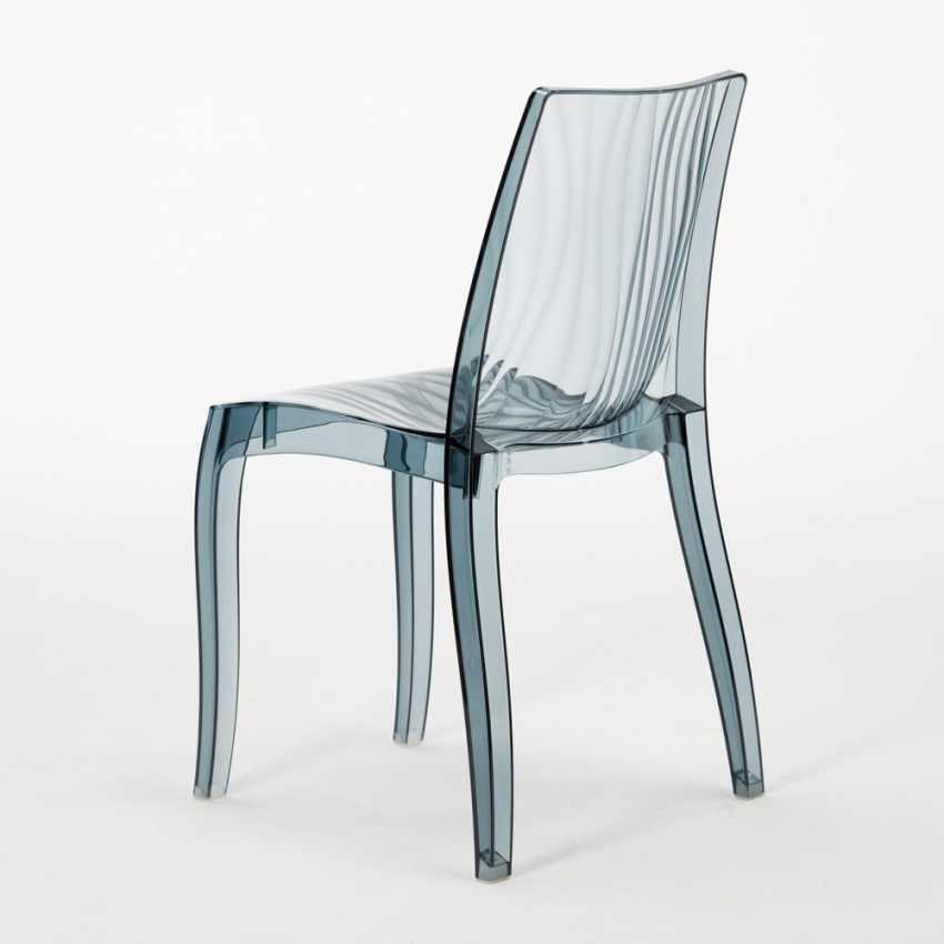 Tavolino Quadrato Nero 70x70 cm con 2 Sedie Colorate Trasparenti DUNE BALCONY - photo