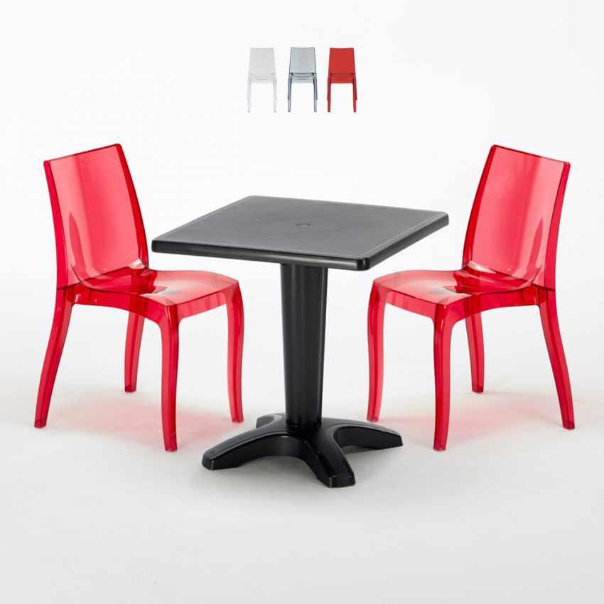 Tavolino Quadrato nero 70x70cm Con 2 Sedie Colorate Interno Bar CRISTAL LIGHT BALCONY - scontato