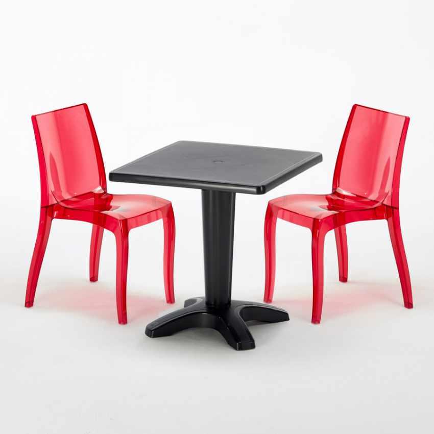 Tavolino Quadrato nero 70x70cm Con 2 Sedie Colorate Interno Bar CRISTAL LIGHT BALCONY - nuovo