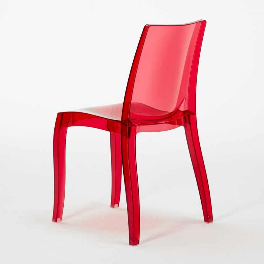 Tavolino Quadrato nero 70x70cm Con 2 Sedie Colorate Interno Bar CRISTAL LIGHT BALCONY - dettaglio