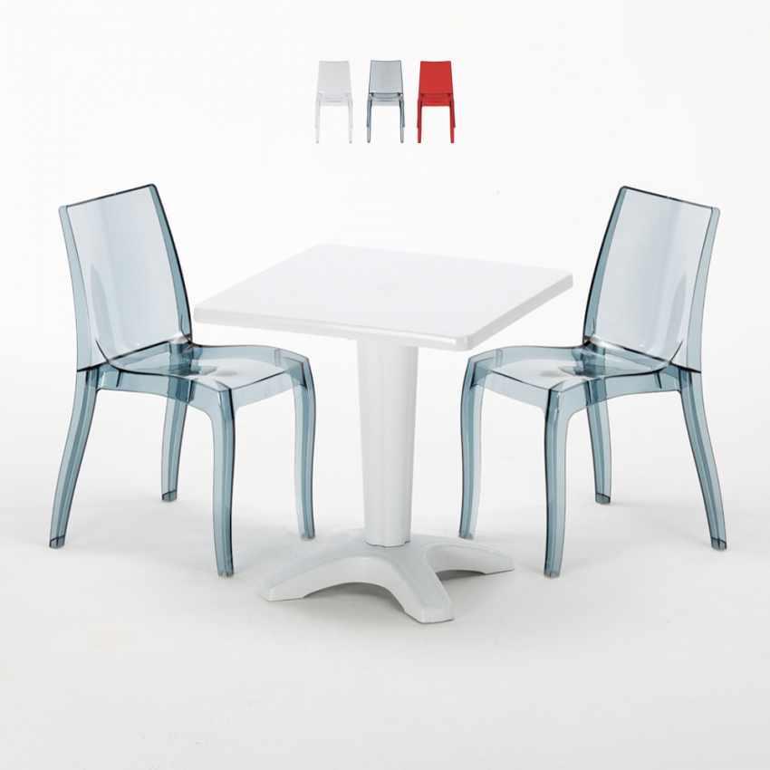 Tavolino Quadrato bianco 70x70cm Con 2 Sedie Colorate Interno Bar CRISTAL LIGHT TERRACE - nuovo