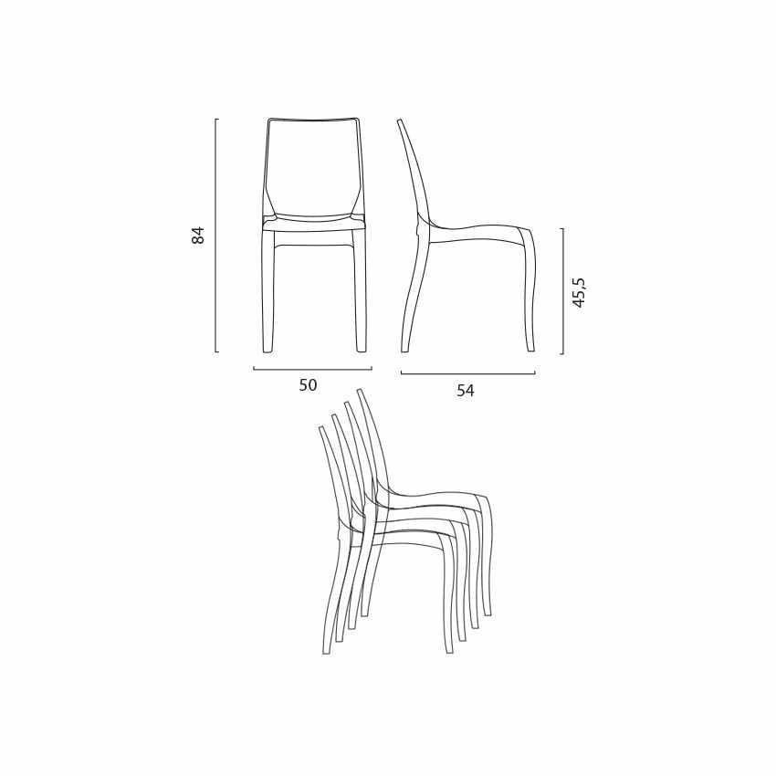 Tavolino Quadrato bianco 70x70cm Con 2 Sedie Colorate Interno Bar CRISTAL LIGHT TERRACE - immagine