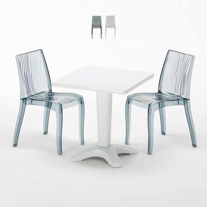 Tavolino Quadrato bianco 70x70cm Con 2 Sedie Colorate Interno Bar DUNE TERRACE - promo