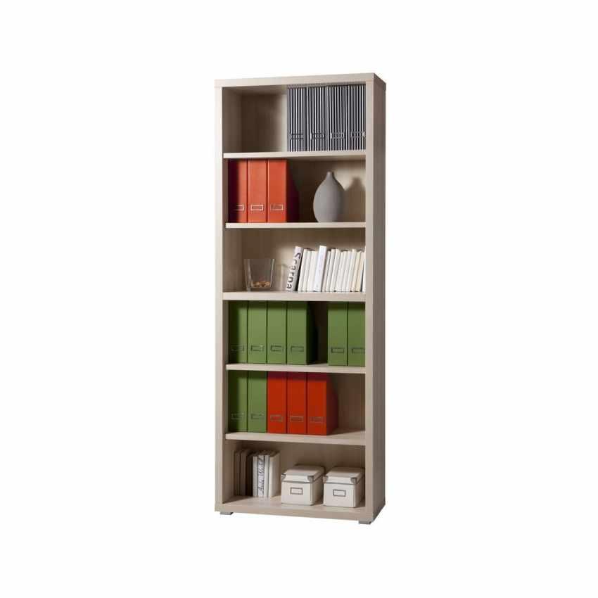 Libreria bassa in legno 6 ripiani design moderno ufficio e studio MAGAZINE - promo