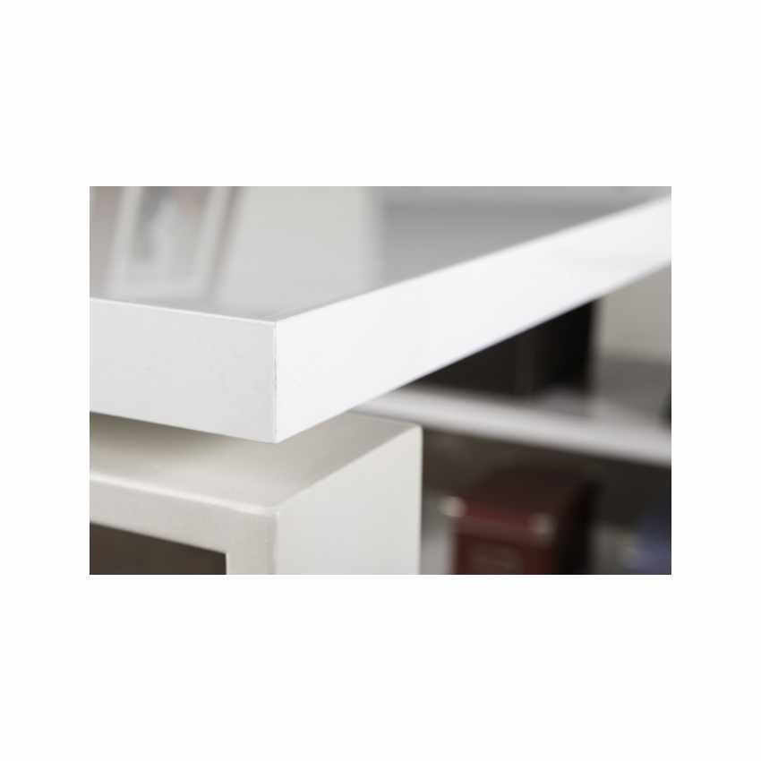 Scrivania con penisola angolare e cassetti bianca lucida GLASSY - offerta