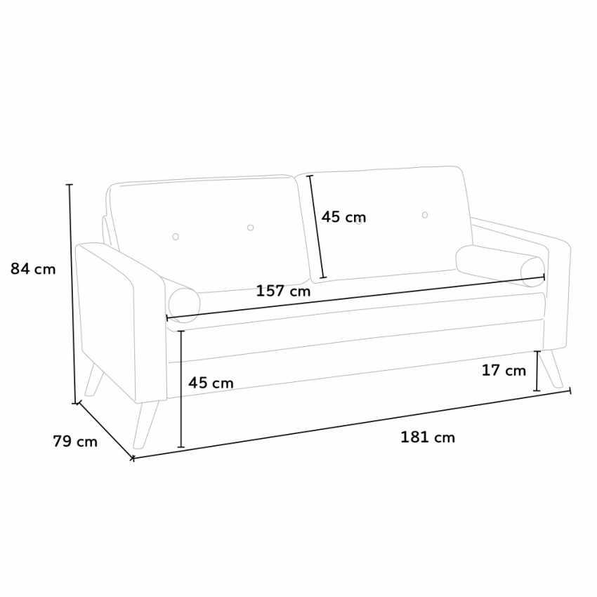 Canapé Design Moderne Style Scandinave en Tissu 3 Places pour salon et salle à manger ACQUAMARINA - photo