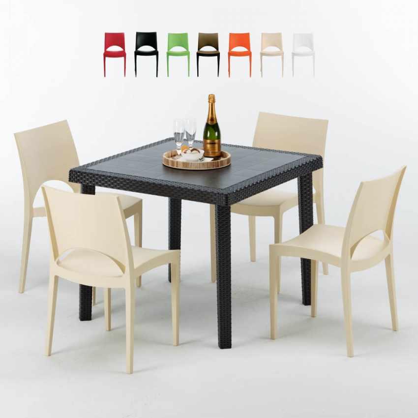 Tavolino Quadrato Nero 90x90 Con 4 Sedie Esterno Bar PARIS PASSION - promo