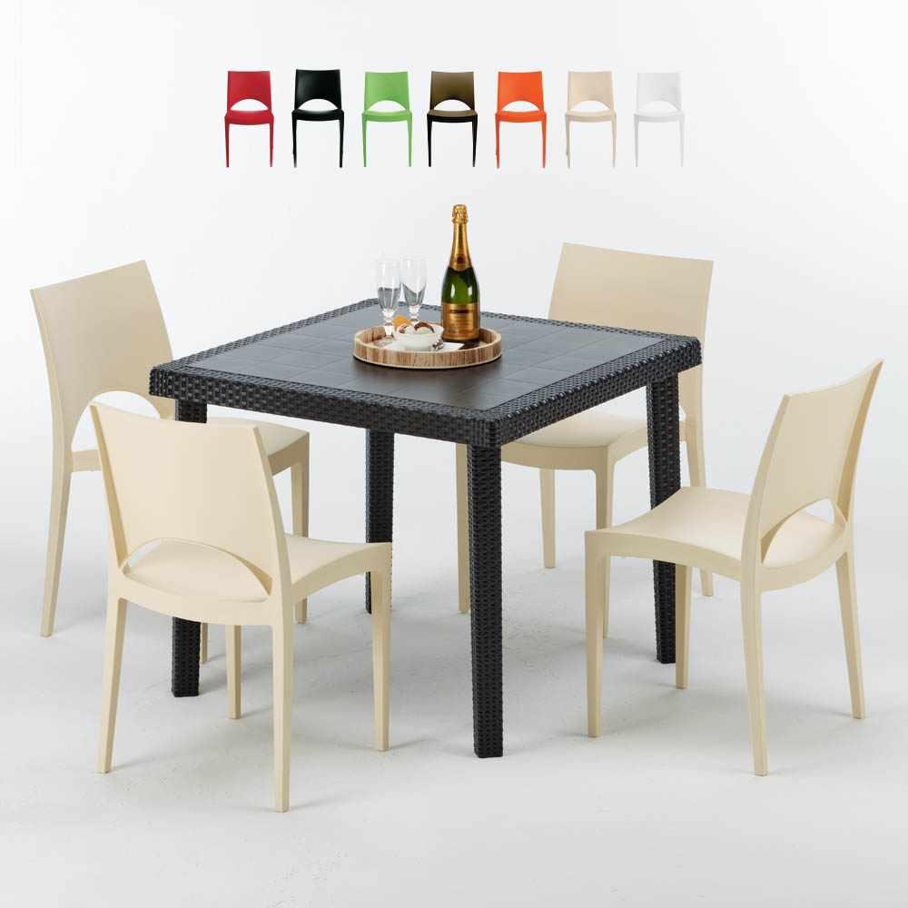 Paris Passion Tavolino Quadrato Nero 90x90 Cm Con 4 Sedie Colorate