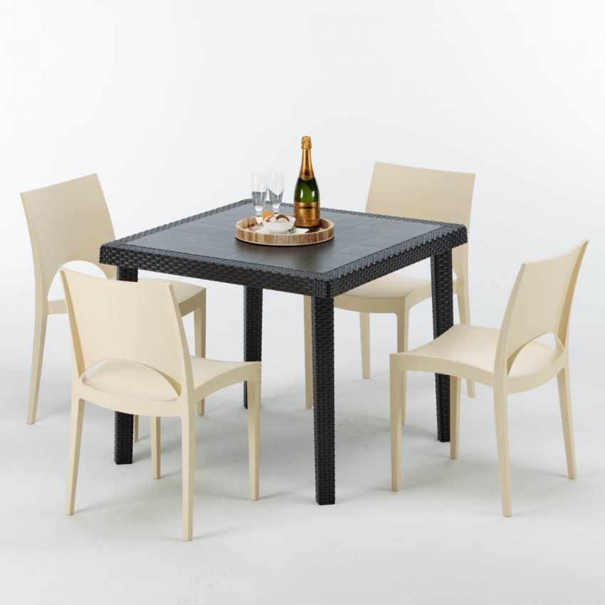 Tavolino Quadrato Nero 90x90 Con 4 Sedie Esterno Bar PARIS PASSION - indoor