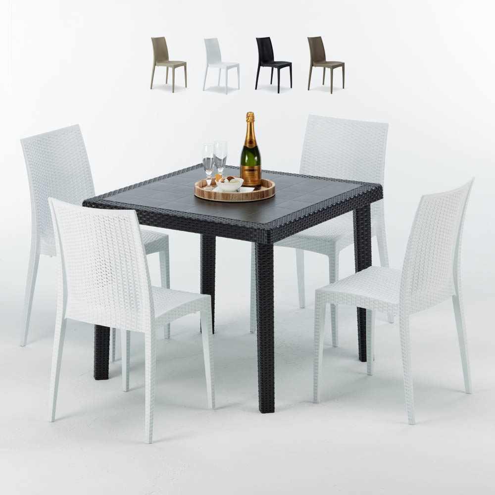 Bistrot Passion Tavolino Quadrato Nero 90x90 Cm Con 4 Sedie Colorate
