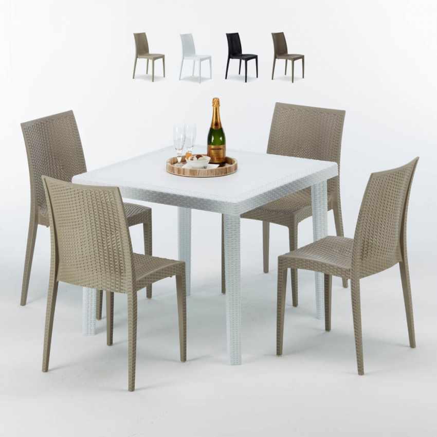 Tavolo Bianco 90x90.Tavolino Quadrato Bianco 90x90 Cm Con 4 Sedie Colorate Bistrot Love
