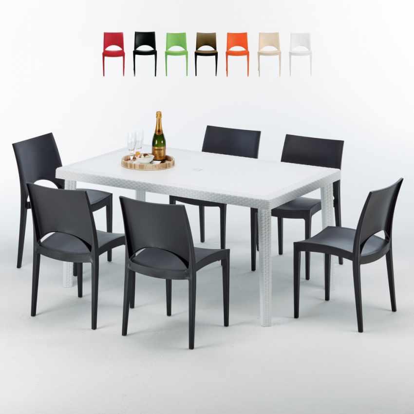 Tavolo Rettangolare Bianco 150x90 cm con 6 Sedie Colorate PARIS SUMMERLIFE - outdoor