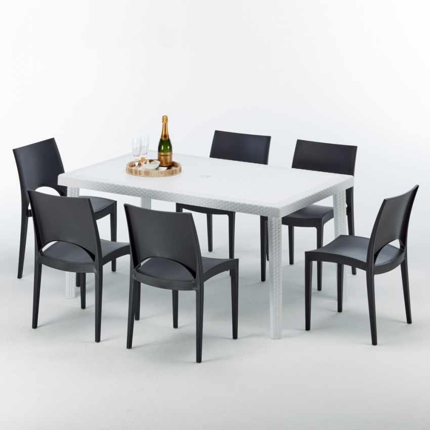 Tavolo Rettangolare Bianco 150x90 cm con 6 Sedie Colorate PARIS SUMMERLIFE - image